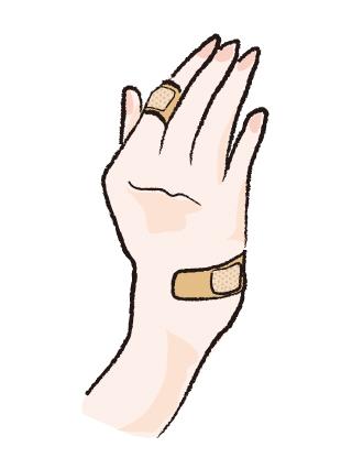 指 細く 傷