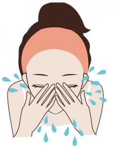 洗顔 顔を濡らす