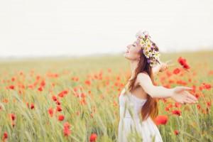 女性 草原