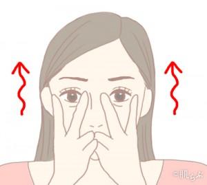 涙袋トレーニングVサイン