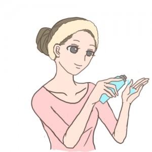 化粧水とる