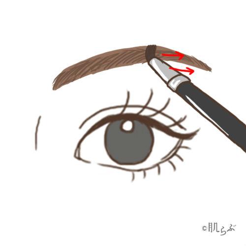 眉毛 パウダーで埋める画像