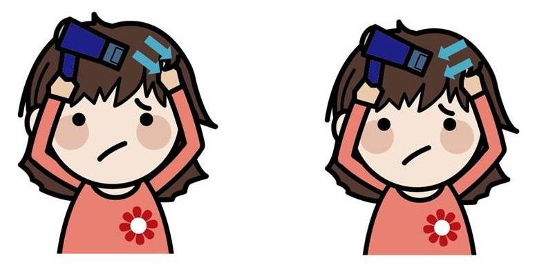 髪左右 乾かす画像