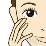 ロゴ入り:クリームファンデーション 頬 手