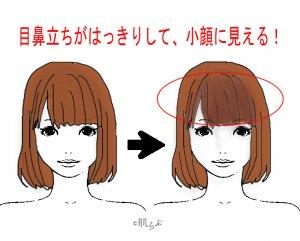 小顔 前髪 イラスト19