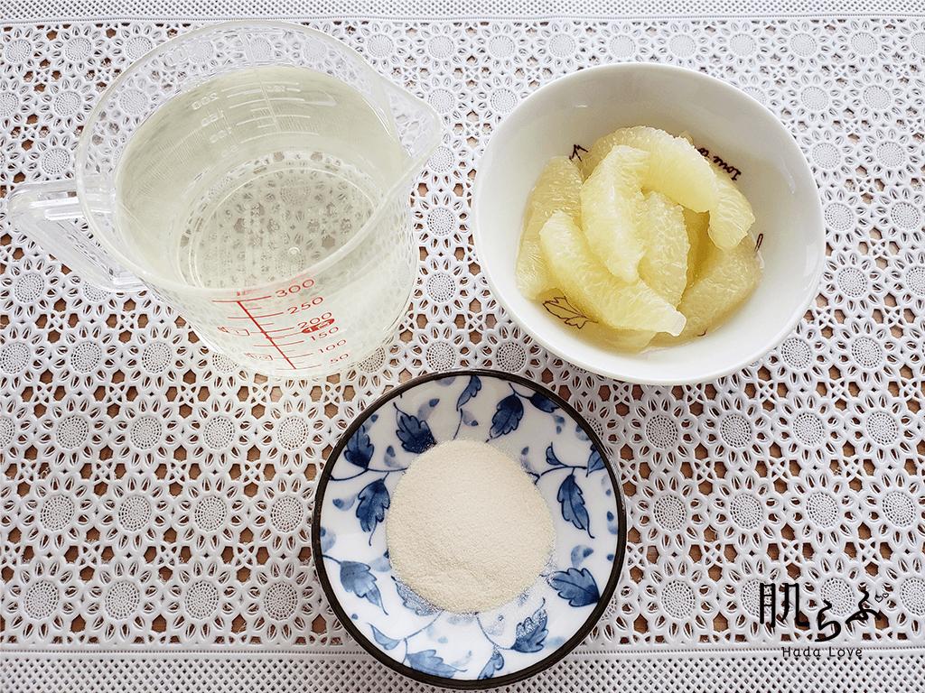 低カロリーで食物繊維も豊富な寒天デザートの材料