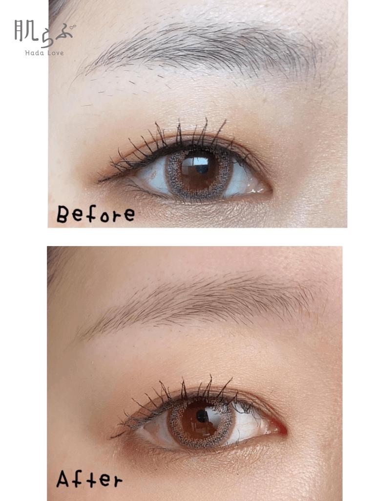 眉毛を整える前と整えた後のビフォーアフター
